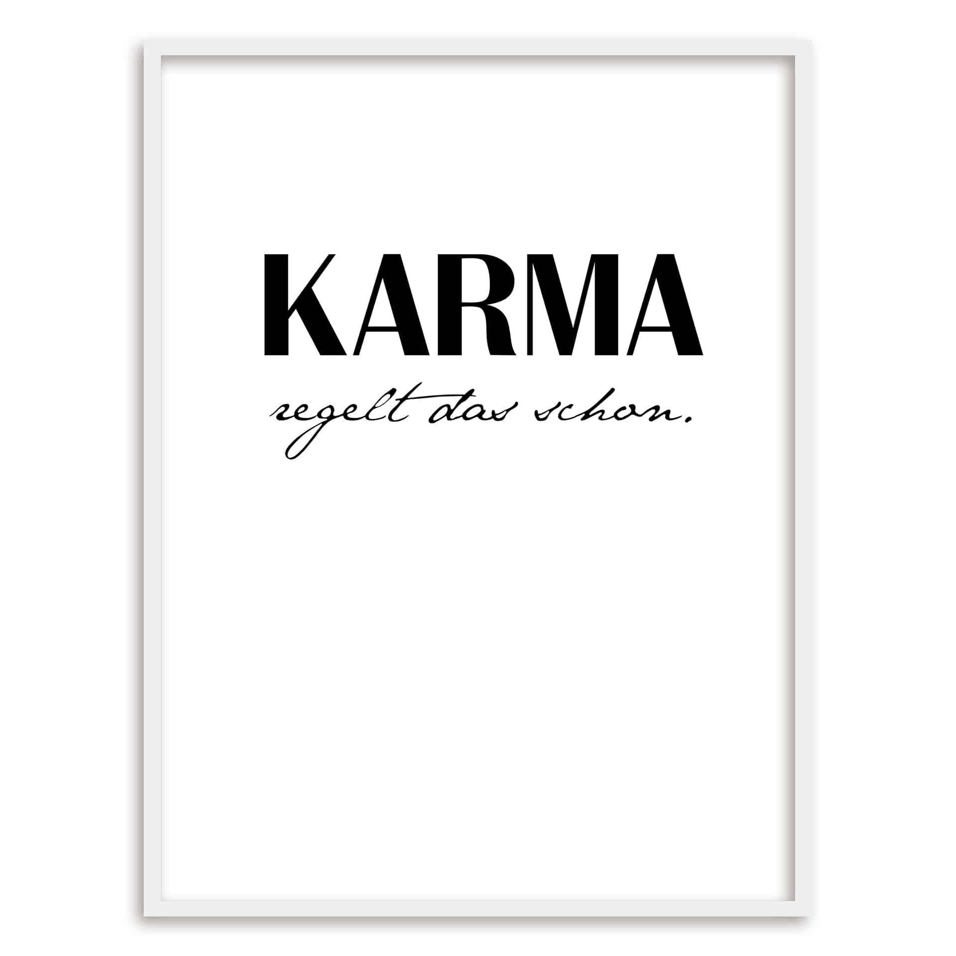 Poster mit Bilderrahmen Karma regelt das schon | eBay
