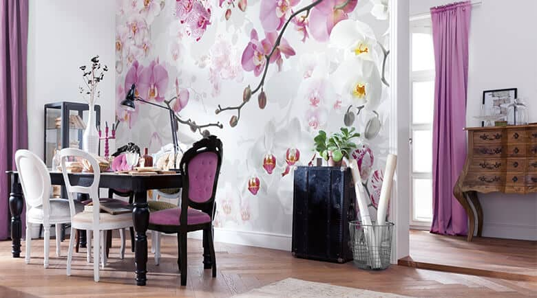 fototapeten mit orchideen wall. Black Bedroom Furniture Sets. Home Design Ideas